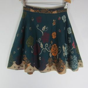 New Ivoko M Teal Blue Floral Wool Knit Flare Skirt